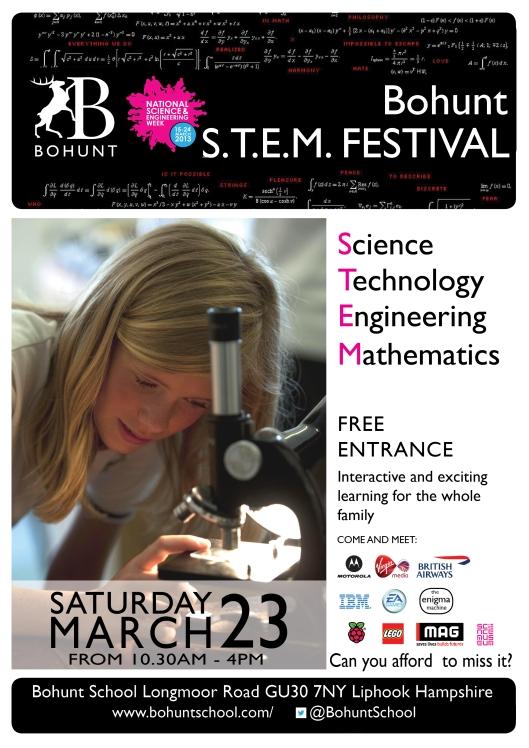 EVENT - Parax Paper at Bohunt School S.T.E.M Festival this Saturday ( 15th March 2014)