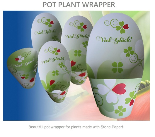 Pot Plant Wrapper from Waterproof Parax Stone Paper