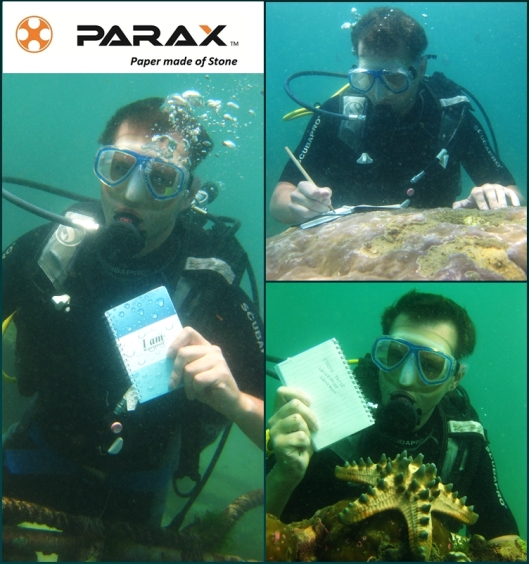 I am waterproof collection - divers test parax paper